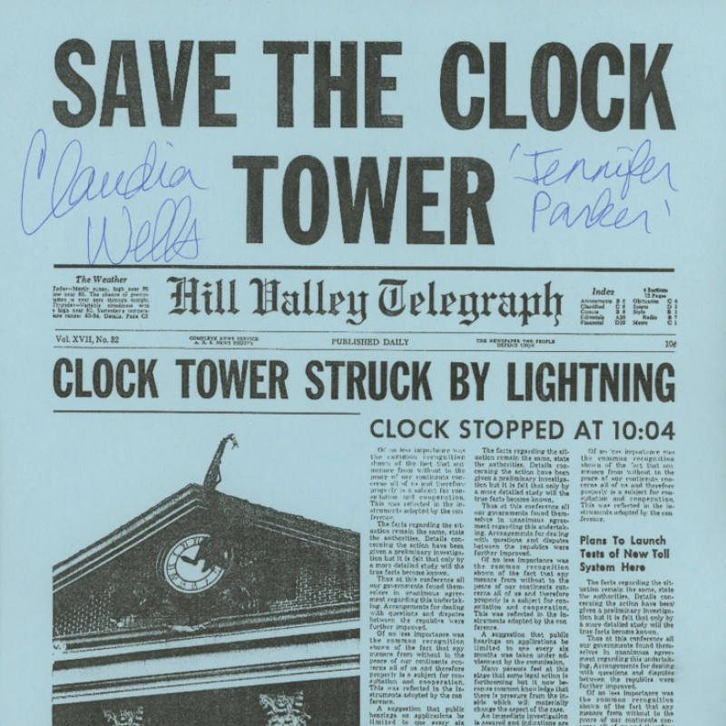 """Claudia Wells Signed """"Back To The Future"""" """"Save The Clocktower"""" Flyer"""