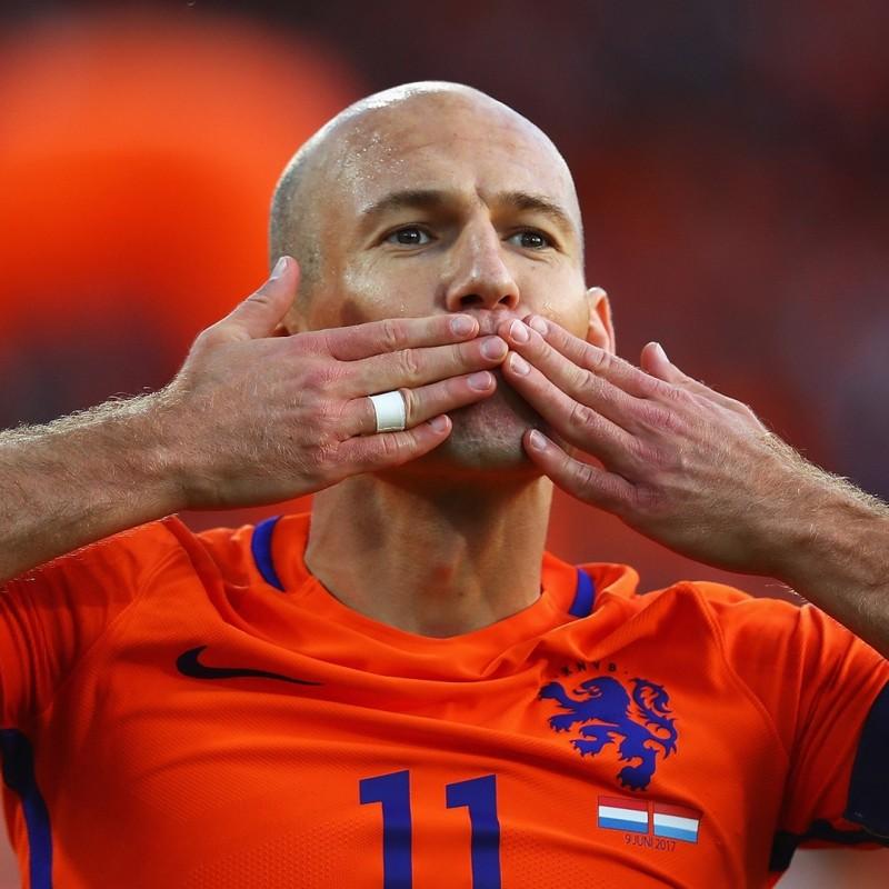 Netherlands 2017 Football Shirt, Signed by Arjen Robben