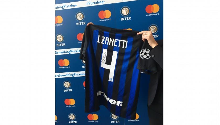 new styles 5efe9 7605e Zanetti Official Inter Signed Shirt, Champions League 2018 / 19 -  CharityStars