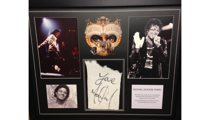 Michael Jackson Signed Towel Display
