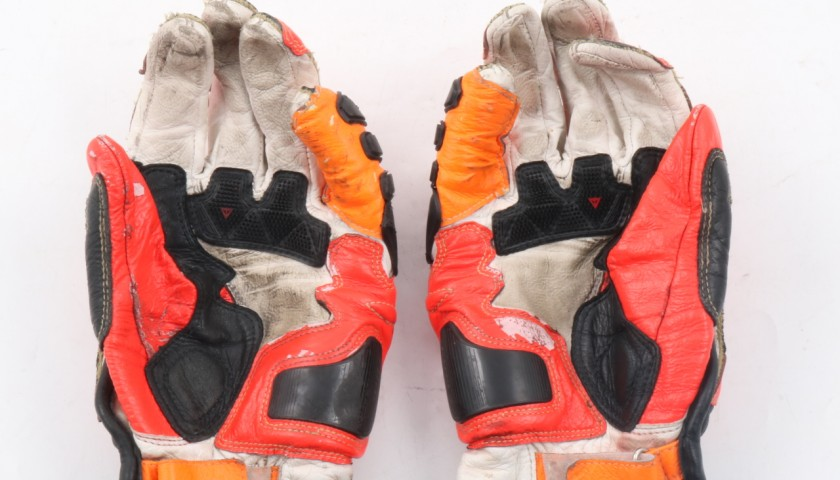 Motorcycle gloves worn by Italian rider Luca Marini - Signed