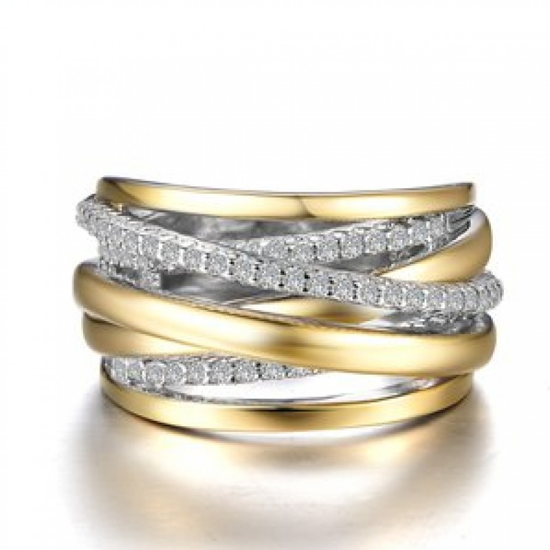 Lafonn Pave Glam Sterling Silver 2-Tone Crossing Ring