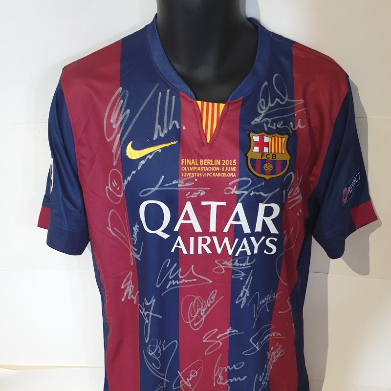 Barcelona 2015 Treble Winners Squad Replica Signed Shirt