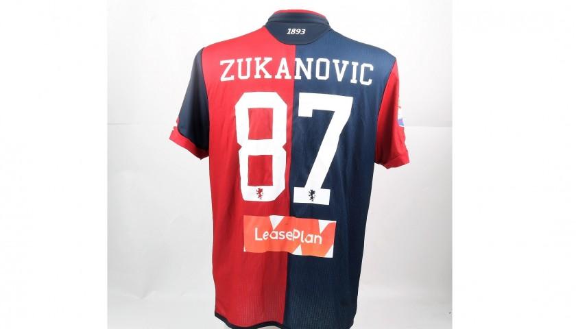 Zukanovic's UNWASHED Special Genoa-Sampdoria Match-Worn Shirt