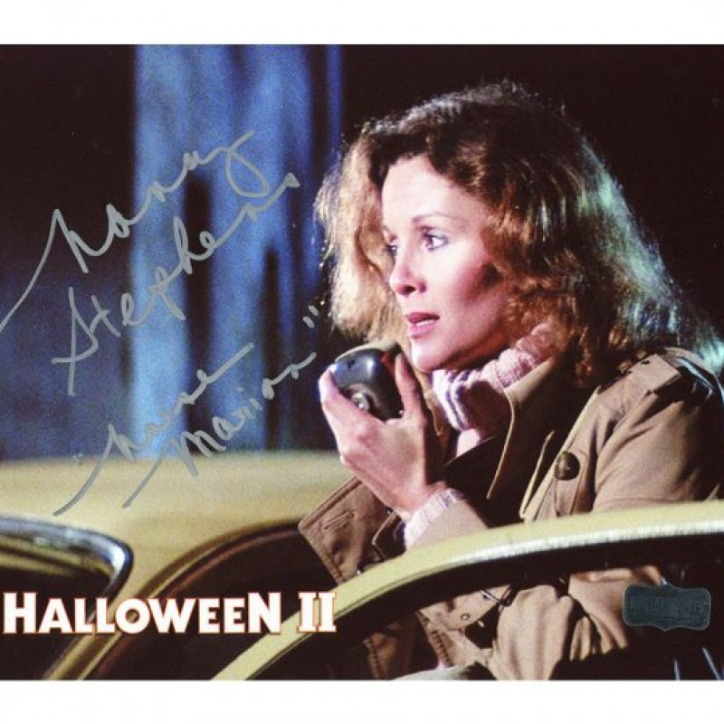"Nancy Stevens Signed Halloween Photo – Radio with ""Marion"" Inscription"