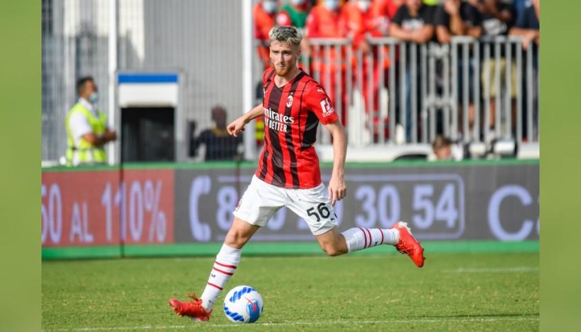 Saelemaekers' Worn and Signed Shirt, Spezia-AC Milan 2021