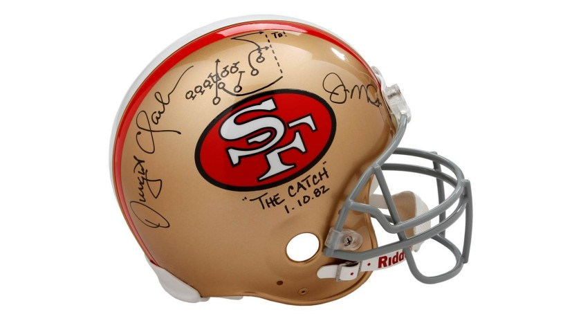 """The Catch"" San Francisco 49ers Helmet Autographed by Joe Montana and Dwight Clark"
