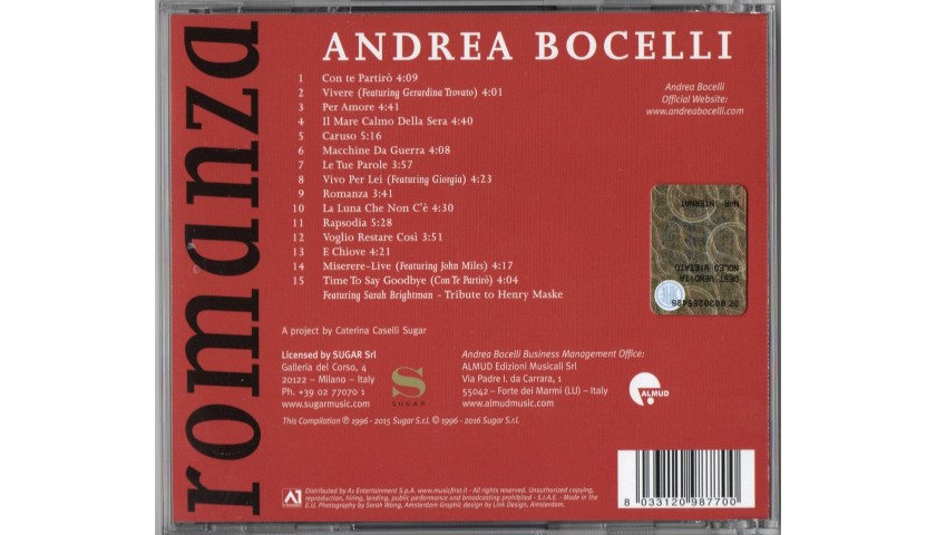 """""""Romanza"""" Album - Signed by Andrea Bocelli"""