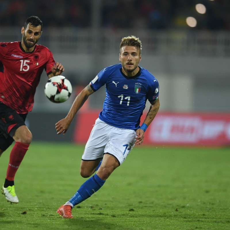 Immobile's Match-Issued/Worn Shirt, Albania-Italia 2017