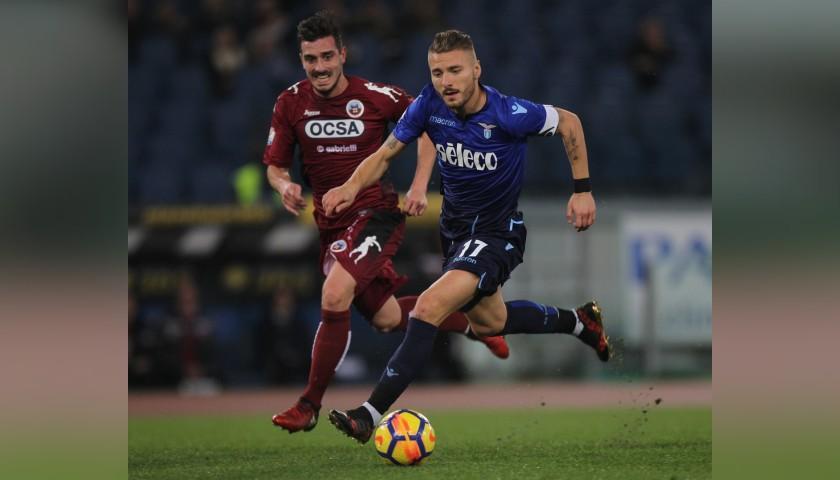 Immobile's Worn and Signed Captain's Armband, Lazio-Cittadella 2017