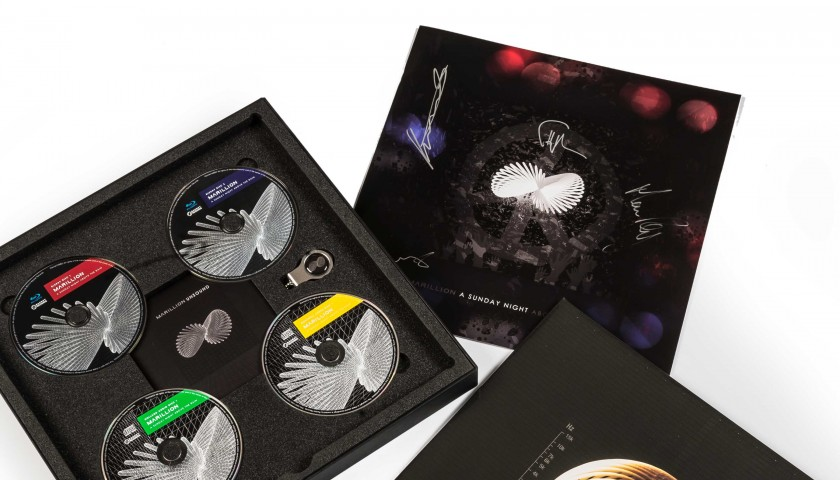 Marillion signed box set, drumskin and sticks - limited edition