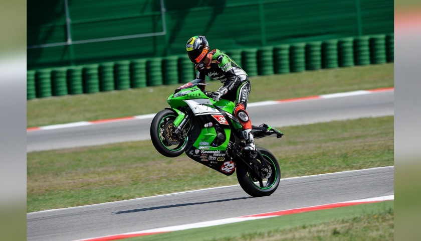 Motorbike Gloves Worn and Signed by Italian Rider Lorenzo Savadori