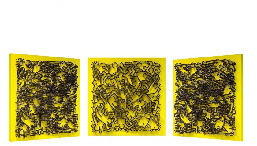 """Omaggio a Keith Haring II"" - acrylic on 3500 self-tapping screws - Drill Monkeys Art Duo - 81x81x8 cm"