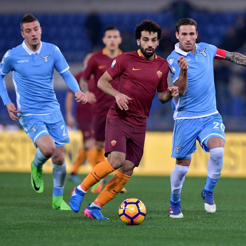 Salah's 2016/17 Match-Issued/Worn Lazio-Roma Tim Cup Semifinal Shirt