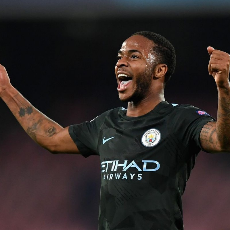 Sterling's Worn Premier League 2017/18 Manchester City Shirt