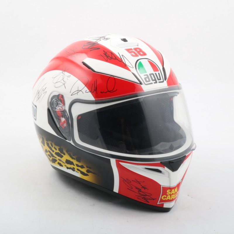 Simoncelli Helmet Replica, Signed by Moto GP, Moto 2 and Moto 3 Pilots
