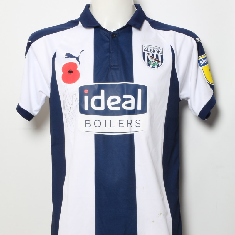 Dwight Gayle's West Bromwich Albion  Worn and Signed Home Poppy Shirt