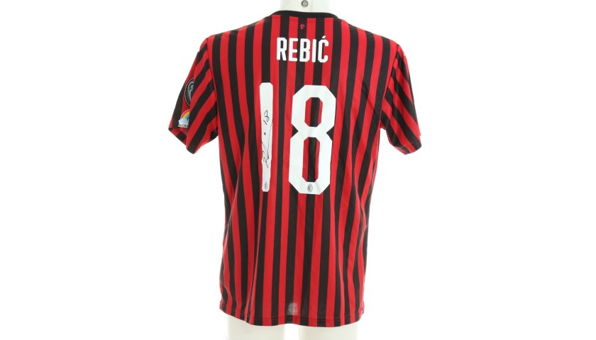 "Rebic's Worn and Signed Shirt, Juventus-Milan - ""Andrà Tutto Bene"""