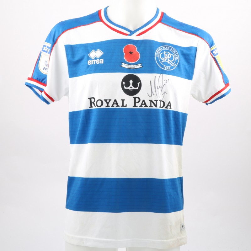 Massimo Luongo's Queens Park Rangers Worn and Signed Home Poppy Shirt