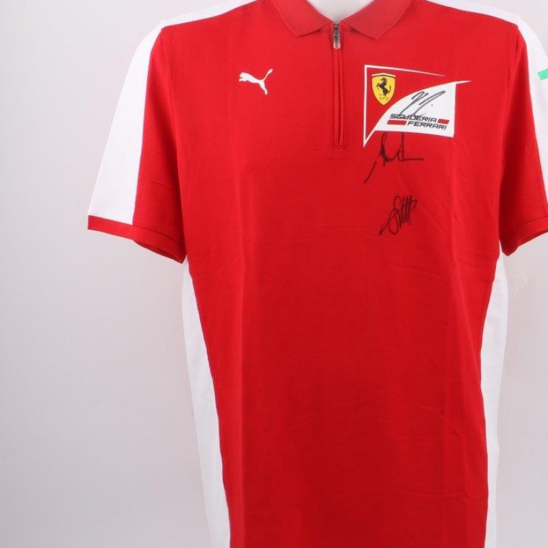 Monza 2015 Ferrari Polo signed by Vettel, Raikkonen and M.Arrivabene