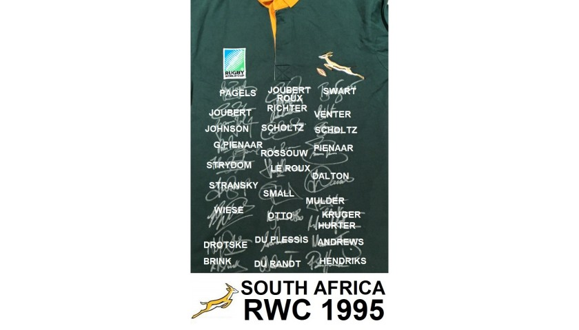South African 1995 RWC Winners Squad Signed Shirt