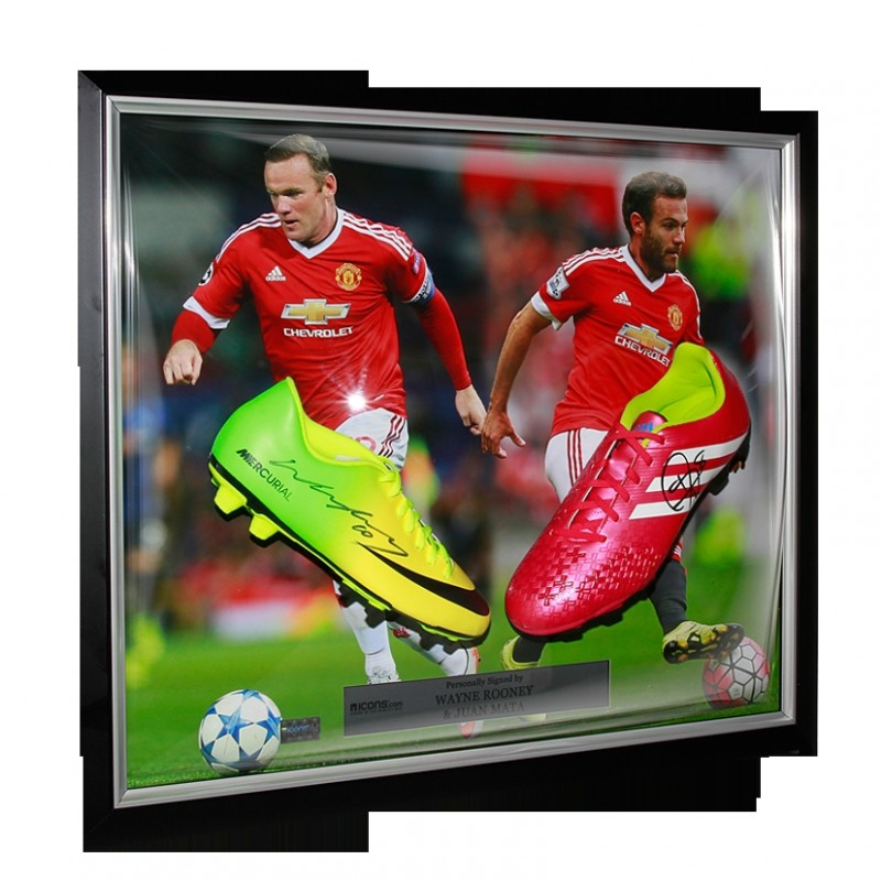 Wayne Rooney & Juan Mata Signed Manchester United Boots
