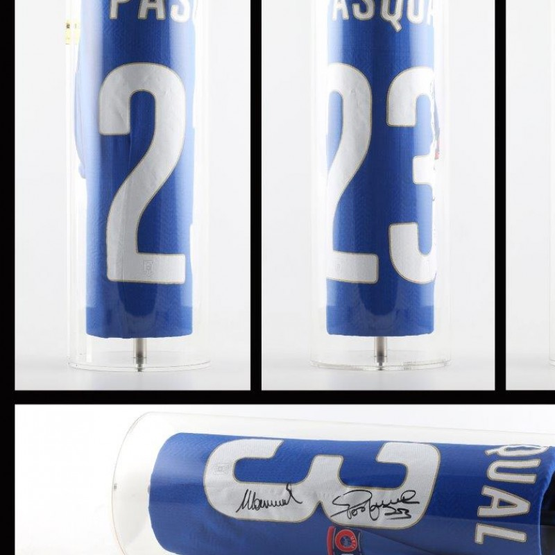 Pasqual match worn/issued shirt, Italy, Euro 2016 qualifications - signed, in Plexitube