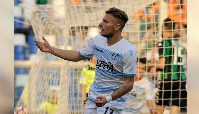 Immobile's Shirt with Libera Sponsor, Sassuolo-Lazio 2017