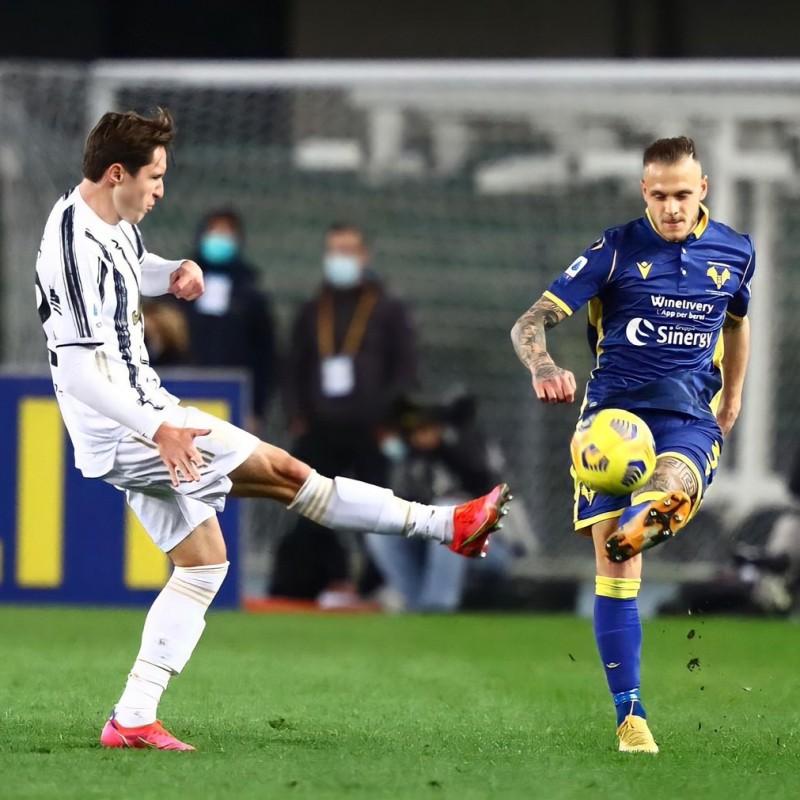 Dimarco's Worn and Signed Shirt, Verona - Juventus 2021
