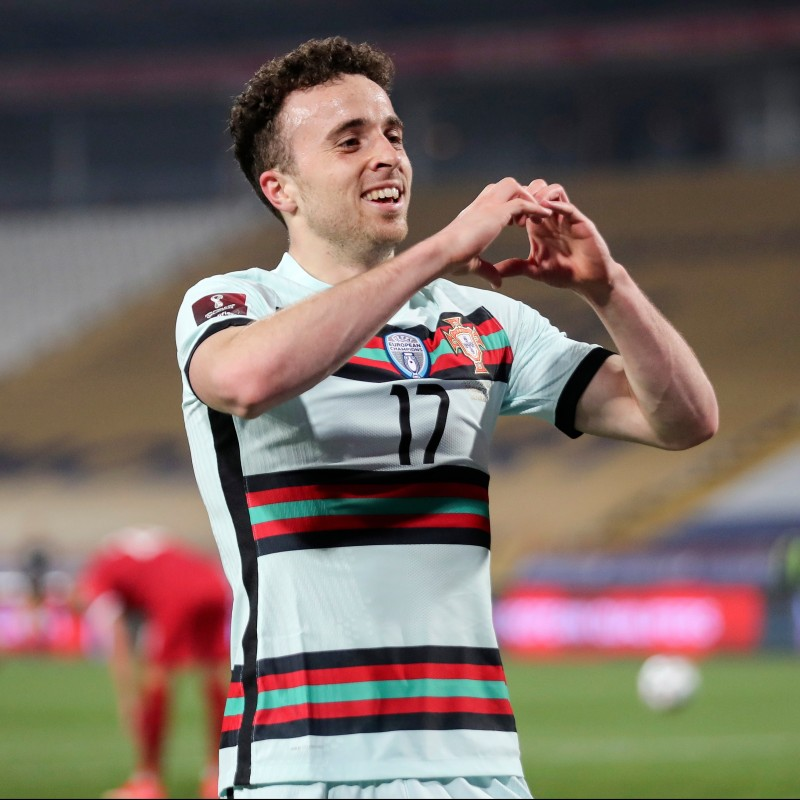 Diogo Jota's Worn and Unwashed Shirt, Portugal-Serbia 2021