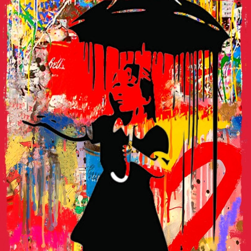 """""""The girl with the umbrella vs Banksy"""" by Mr Ogart"""