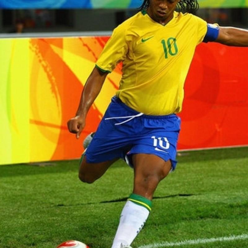 Ronaldinho's Brazil match issued/worn shirt, Olympic Games 2008