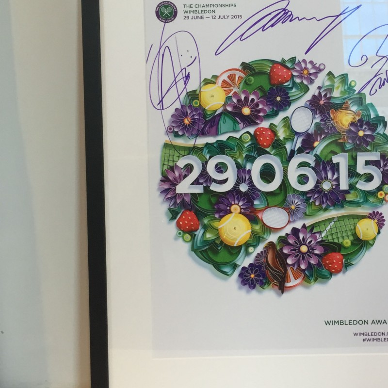 Wimbledon 2015 Official Poster Signed by Novak Djokovic, Andy Murray and Rafael Nadal