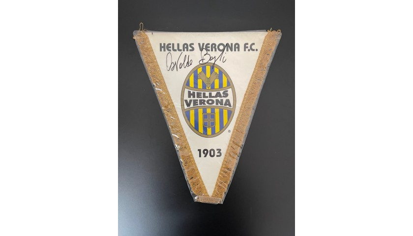 Hellas Verona Official Pennant - Signed by Bagnoli