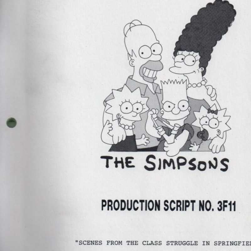 "Authentic script from the series ""The simpsons"" - episode: Scenes from the Class Struggle in Springfield"