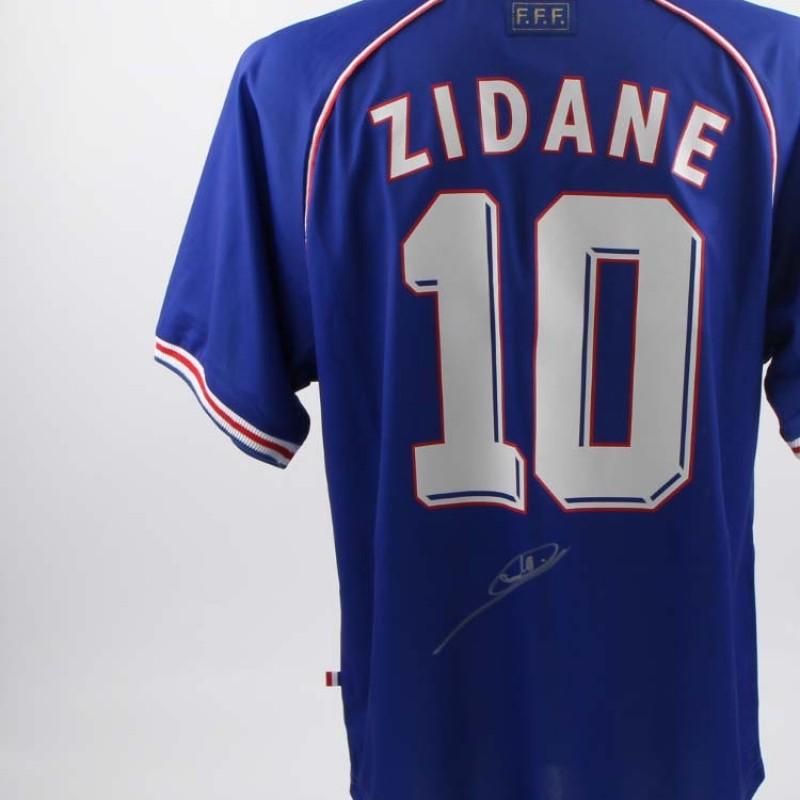 Réplique officielle du maillot de Zinedine Zidane de France 1998, signé par le joueur