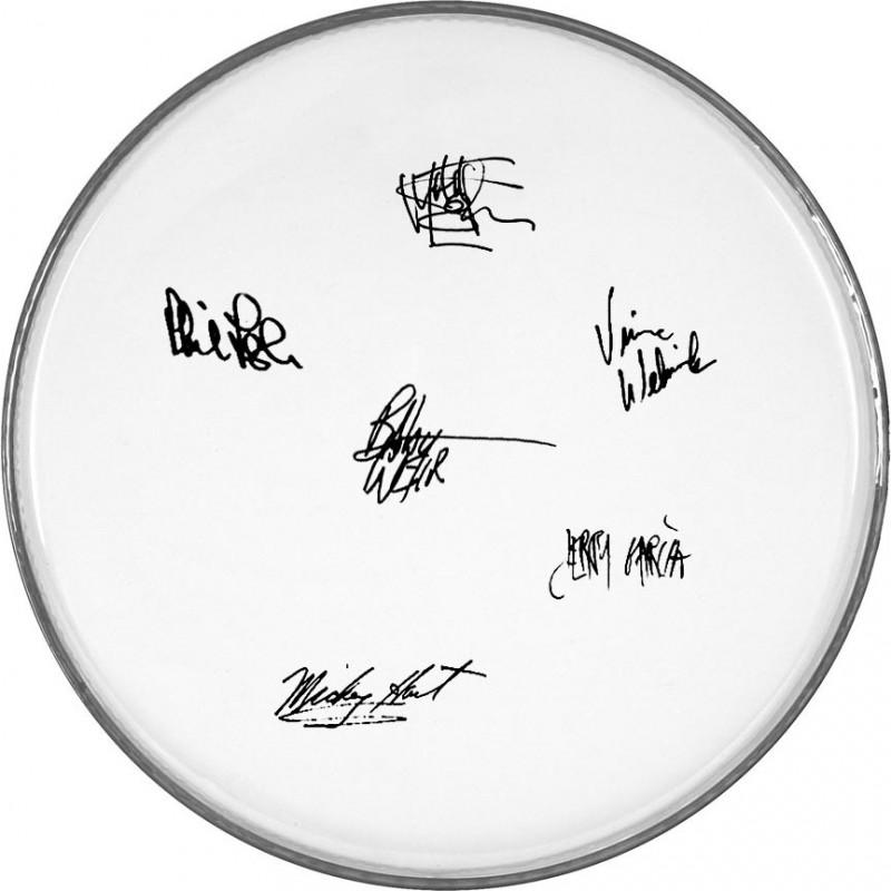 Membrana di tamburo con firme digitali dei Grateful Dead