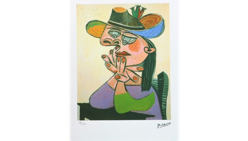 Pablo Picasso - Original Offset Lithograph Print with Dry Stamp