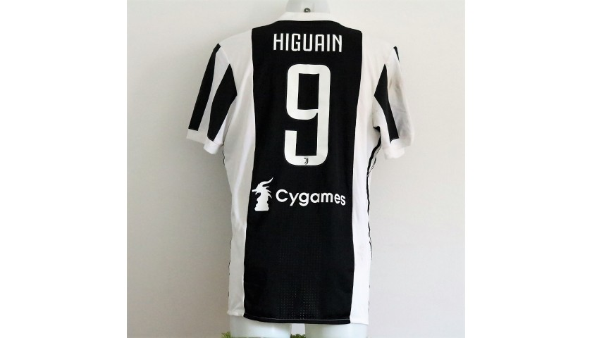 new style 7d677 64cdc Higuain's Unwashed Match-Worn Serie A 2017-18 Juventus Shirt - CharityStars