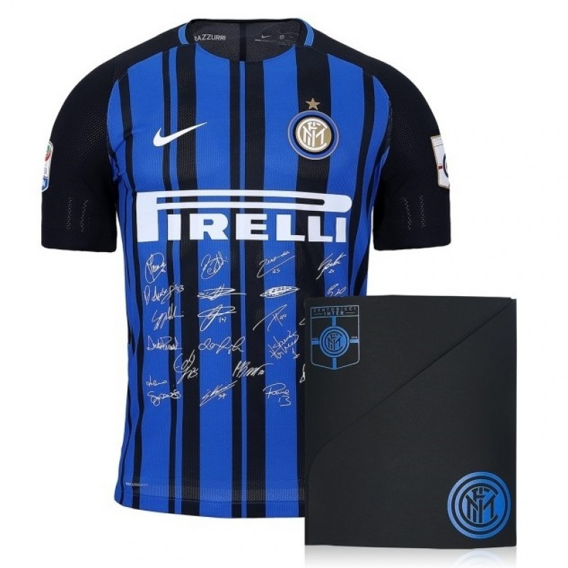 Authentic Inter 110th Anniversary Shirt, Signed by Zanetti