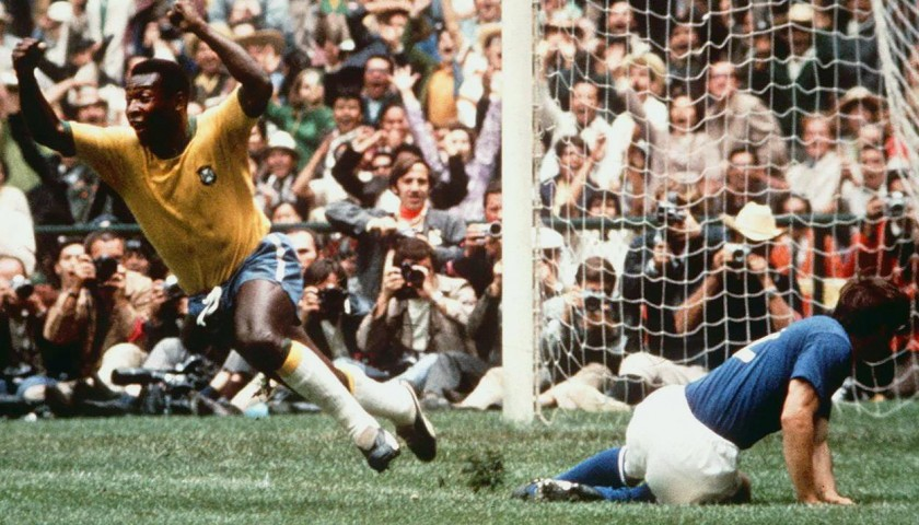 Pele's Signed Match-Issued Brazil Shirt, 1970