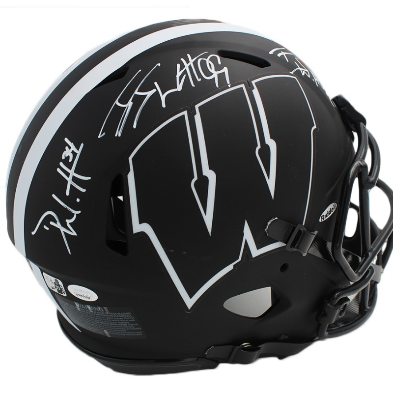 JJ, TJ, and Derek Watt Signed Wisconsin Badgers Speed Authentic Eclipse NCAA Helmet