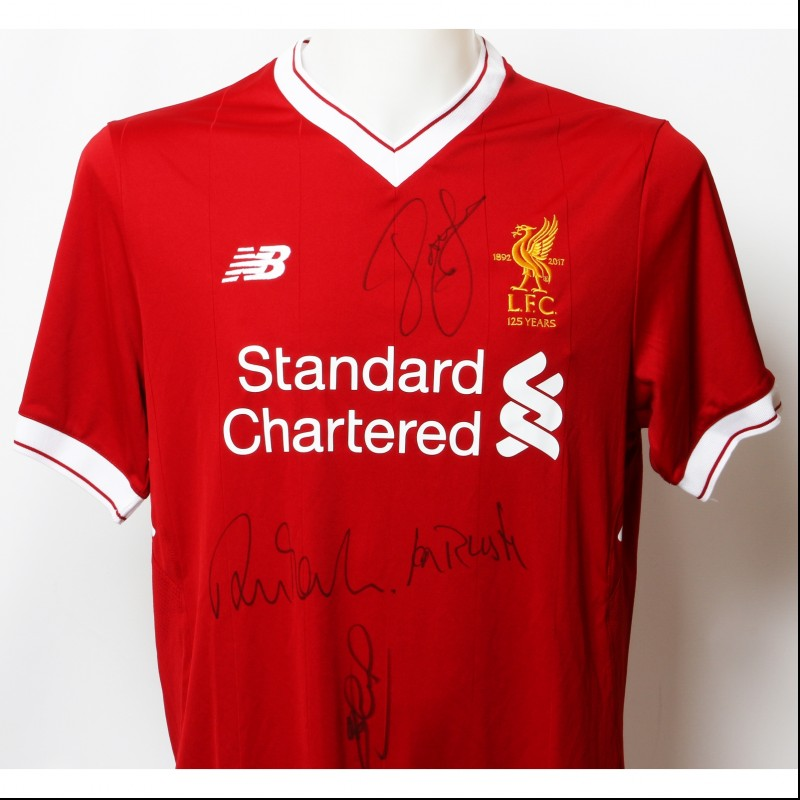 "Official LFC 125 ""The Greatest"" Shirt Signed by Gerrard, Rush, Barnes and Fowler"