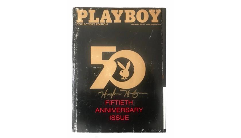 Hugh Hefner Signed 2004 50th Anniversary Playboy Magazine