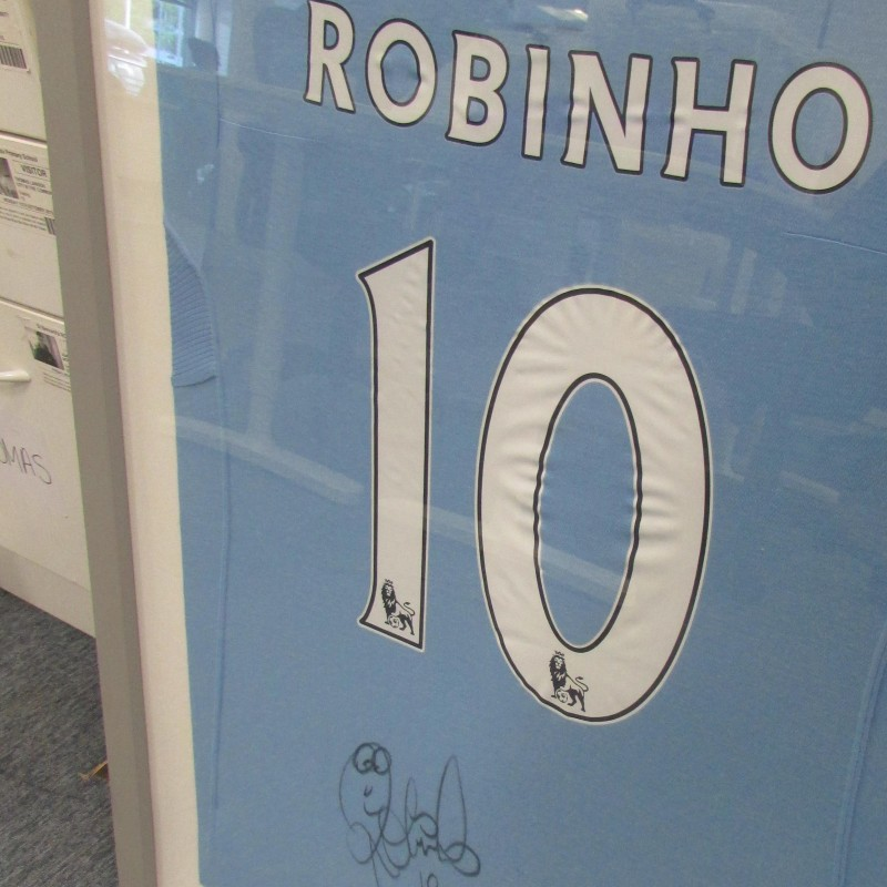 Framed Manchester City 09/10 Home Shirt Signed by Robinho
