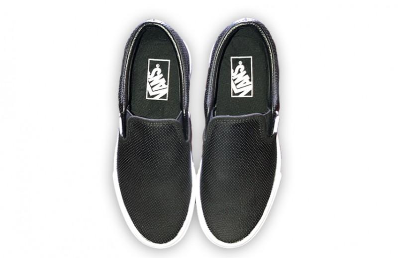 Avril's Personal Black Van Slip-On Sneakers