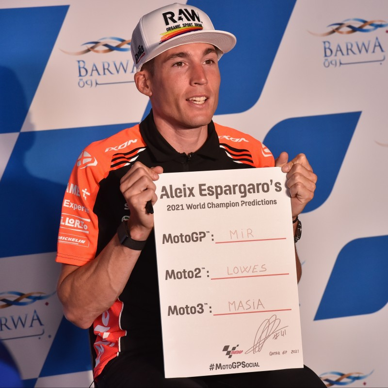 Signed '2021 Championship Winner Predictions' board signed by Aleix Espargaro