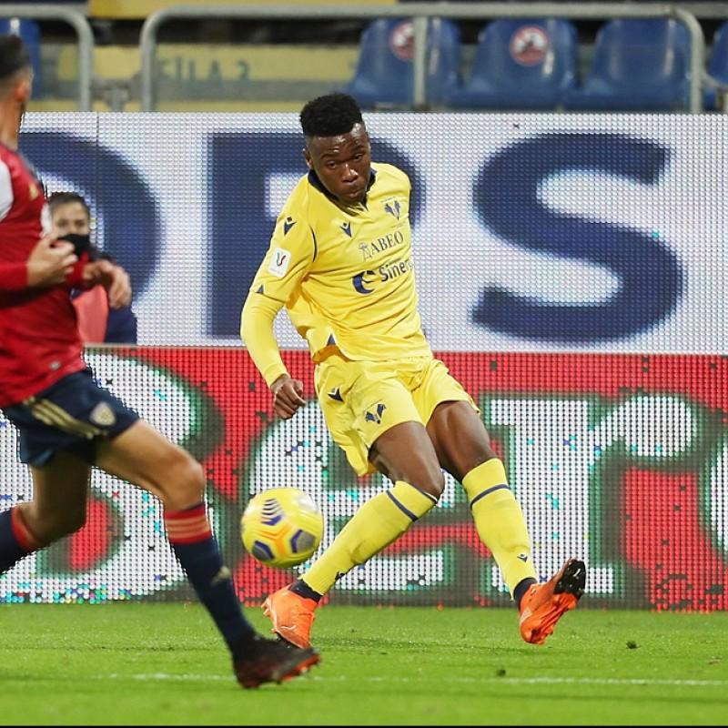 Udogie's Worn Shirt, Cagliari-Hellas Verona - Coppa Italia 2020