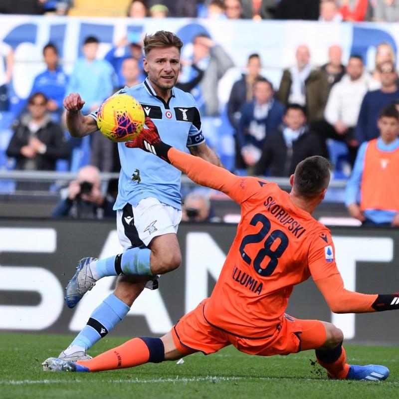 Immobile's Worn and Signed Shirt, Lazio-Bologna 2020