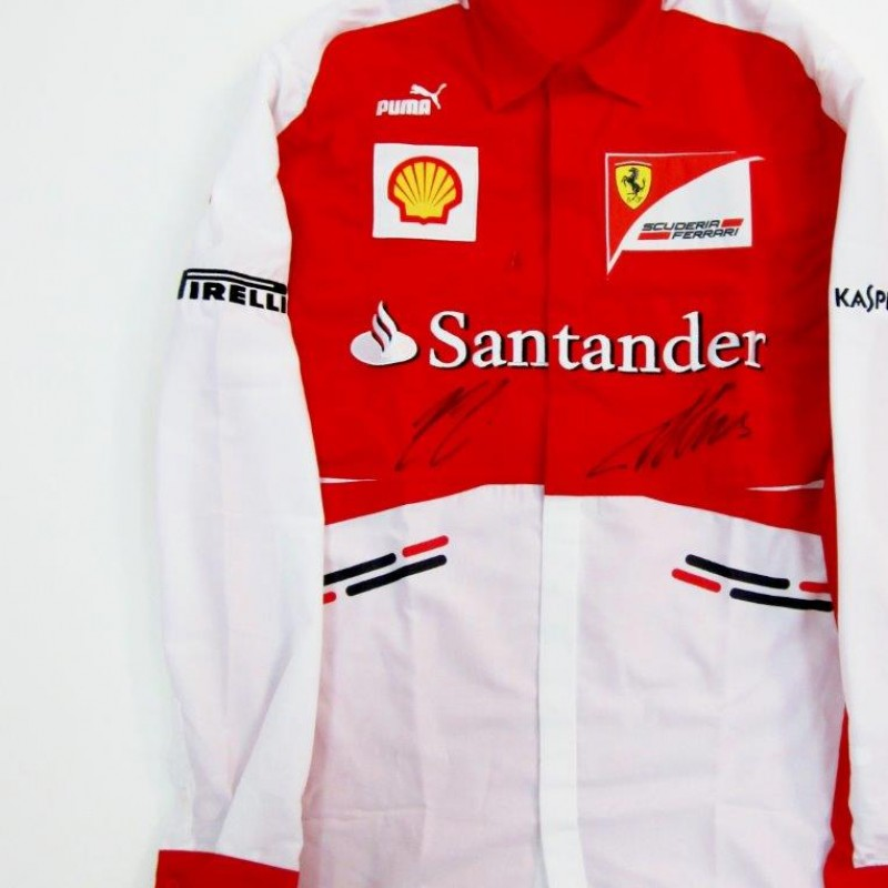Ferrari shirt signed by Raikkonen and Alonso
